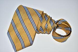 "Brooks Brothers MEN'S TIE MUSTARD, BLUE & WHITE/STRIPED LONG W: 3.5"" L: 64"""