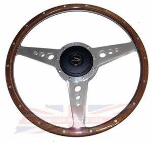 """New 14"""" Wood Steering Wheel w/ Adaptor Hub Jaguar XJ6 1974-1987 XJS Moto-Lita"""