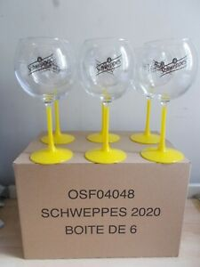 6 grands verres SCHWEPPES piscine pied jaune neufs dans leur carton