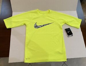 Brand New with Tags Boys Nike dri fit Shirt neon yellow Grey swoosh Medium