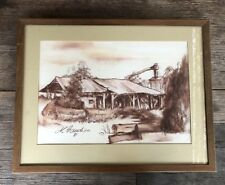 VINTAGE FRAMED CHARCOAL DRAWING OLD COUNTRY HOMESTEAD ARTIST M. GUADION 81