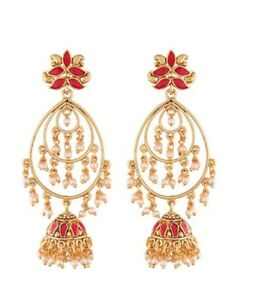 Latest Temple Jewellery Pink and Green Stone Earrings Gold plated Designer