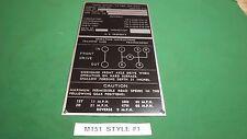 M151 MUTT jeep NOS Style #1 Nomenclature data plate 100% original (P26)