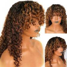 1B/30 Curly Ombre Honey Blonde Lace Frontal Human Hair Wigs With Bangs Preplucke