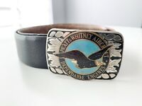 Vintage PRATT & WHITNEY AIRCRAFT DEPENDABLE ENGINES Belt Buckle w Leather Belt