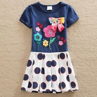 Girls Floral & Polka Dot Summer Dress - Age 3 4 5 6 7 Years Kids Party Clothes