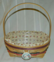 1992 LONGABERGER EASTER BASKET WITH PLASTIC AND FABRIC LINER LINERS