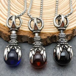 Stainless Steel Dragon Claw With Black Red Blue Orb Pendant Necklace