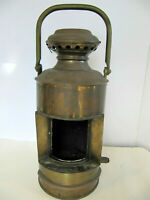 Antique Early Perkins Marine Ship Oil Lantern Brass 18""