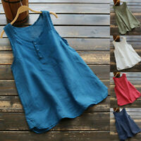 Women Casual Plus Size Linen Tops Tee Vintage Solid Sleeveless Loose Vest Blouse