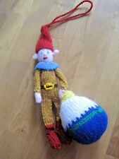 HAND KNITTED BAUBLE XMAS ELF TREE DECORATION? 9 INCHES TALL