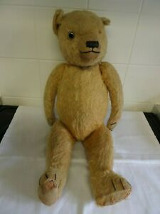 VINTAGE OLD TEDDY BEAR WITH GROWL BOX, WELL WORN AND MISSING AN EYE