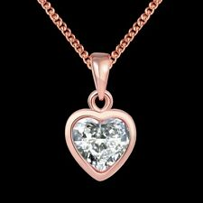 Elegant 18k 18CT Rose Gold Filled GF Heart Crystals Pendant Chain Necklace N533