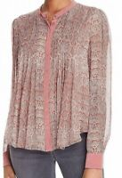 Joie Women's Red Size XXS Snakeskin Print Pleated Buttoned Blouse Silk $298 #273