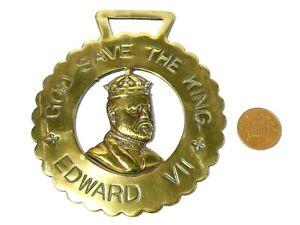 Antique God Save The King Edward VII Portrait Horse Brass #5