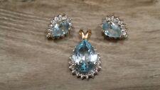 Genuine Blue Topaz & Diamond Pendent, Earring Set 10k Gold