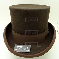 Vintage Wool Felt English Gentleman Gents Formal Tuxedo Topper Top Hat Brown