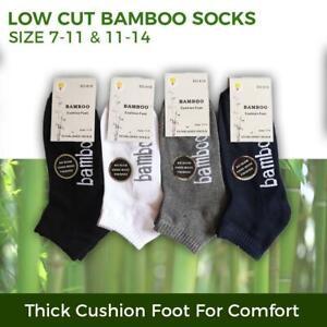 Bamboo Socks Ankle Low Cut Soft Cushion Work Sport Men s6-12 Black Navy White