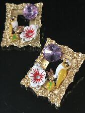Gold Picture Frame Cermaic Bird Flower Earring Purple Asymmetrical French Design