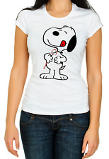 Snoopy candy cane licking White Women's 3/4 Short Sleeve T-Shirt K504