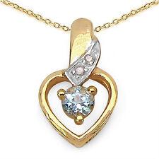 PRECIOSO 0,37 quilates Topacio Azul Colgante de Diamante Corazón Plata 925