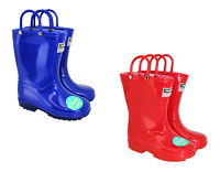 Kids Wellingtons Light Up LED Town & Country Wellies with Handles Red Blue 7-13