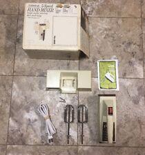 Vintage Sears Counter Craft 5 Speed Hand Mixer Almond w/ Wall Storage Rack NOS