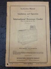 Vintage Instruction Manual Installation Operation International Beverage Cooler