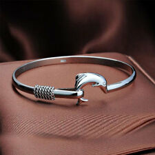 New Sterling Silver Dolphin Bangle/Bracelet For Women Ladies Jewelry + Gift Bag