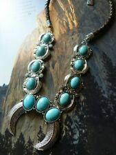 Southwest  Navajo Squash Blossom chunky necklace on leather