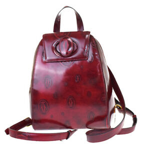Authentic Cartier 2C Happy Birthday Backpack Bag Patent Leather Bordeaux 83MG761