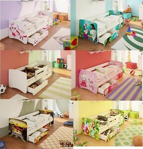Juniorbett Kinderbett Bett Jugendbett mit Rausfallschutz 2 Schubladen + Matratze