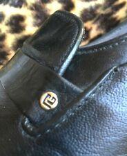 Pierre Balmain 1960s Men Tuxedo Formal Loafers Shoes & Logo~Black Leather~7.1/2