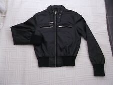 BLACK  FAUX  LEATHER           size  10         WASHABLE  BOMBER  JACKET