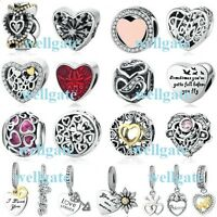 Genuine 925 Sterling Silver Love & Romance Clear Charms for Charm Bracelet NEW