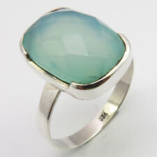 92.5% Solid Silver AQUA CHALCEDONY Ring # 8.75 Deco Women Jewelery FREE SHIPPING