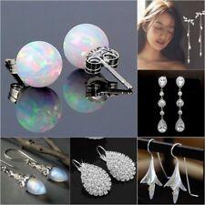 Gorgeous Women Silver Plated Hoop Stud Opal Drop Hoop Earrings Wedding Jewelry