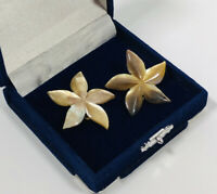 Vintage Clip On Earrings Brown Lucite Flower Design Kitsch Costume Jewellery