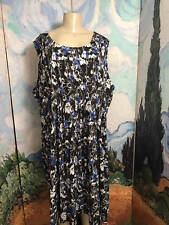 WOMAN WITHIN PLUS 4X NEW BLACK/ BLUE FLORAL PLEATED BELOW KNEE SLEEVELESS DRESS