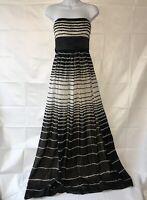 Bcbg Maxazria Long Strapless Silk Dress  Black White Striped Size 2