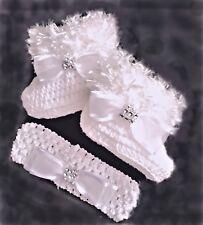 BABY GIRLS BOOTIES & HEADBAND SET CROCHET WHITE fluffy romany bling shower gift