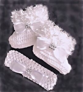 BABY GIRLS BOOTIES & HEADBAND SET CROCHET WHITE fluffy romany bling shower gift