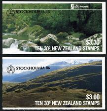 New Zealand Stamp Booklets Kakapo Parrot w/Stockholmia 86 O/P SG #SB41 & #SB42a