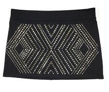 Thalia Sodi Women's Size Large Mini Skirt Black And Gold Studded Pattern Stretch