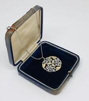 Vintage Necklace & Pendant Silver Tone & Enamel Floral Design Intricate Pretty