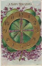 CLOCK MIDNIGHT FORGET ME NOT FLOWERS EMBOSSED POSTCARD