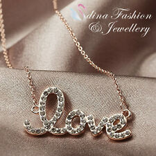 18K Rose Gold Plated Simulated Diamond Eternal Letter Love Necklace Jewellery