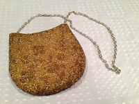 Vintage 1960's WALBORG Gold Floral Beaded Small handbag clutch change-purse