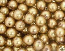 30 Bright Gold Glass Pearl 10mm Round Beads