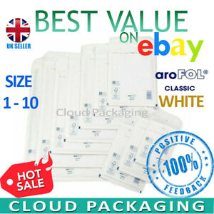 AROFOL GENUINE WHITE BUBBLE PADDED ENVELOPES MAILERS BAGS *ALL SIZES / QTY'S*